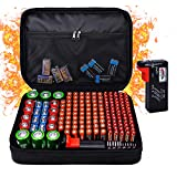 Fireproof Battery Organizer Storage Box Waterproof Explosionproof, Hard Safe Box Fits 200 Batteries Case - with Tester BT-168, Carrying Container Bag Energy Batteries AA AAA C D 9V Iithium 3V Holder