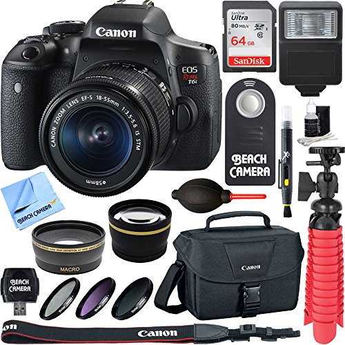 Canon EOS Rebel T6i Digital SLR Camera Wifi + EF-S 18-55mm IS STM Lens Kit + Accessory Bundle 64GB SDXC Memory + DSLR Photo Bag + Wide Angle Lens + 2x Telephoto Lens + Flash + Remote + Tripod & More by Beach Camera
