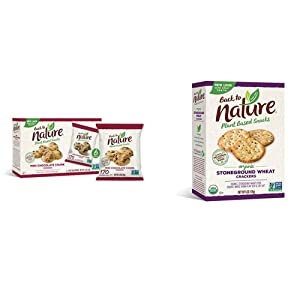 Back to Nature Cookies, Non-GMO Mini Chocolate Chunk, 6 Count & Crackers, Organic Stoneground Wheat, 6 Ounce (Packaging May Vary)