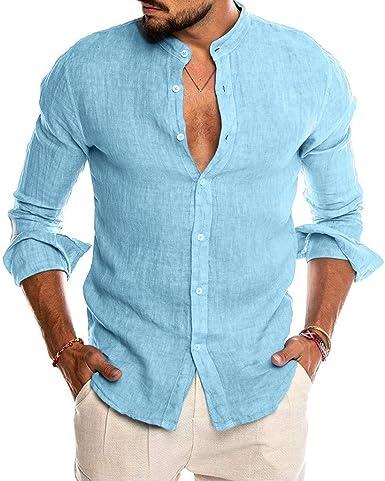 Luckycat Hombre Camisa de Lino sin Cuello Camisa Hombre Cuello Mao Lino Blusa Manga Larga Camisas Top Sin Cuello De Color Sólido Blusas Suelta Camisas De Trabajo Suave Cómodo Transpirable: Amazon.es: Ropa