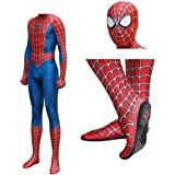 Qfeng Raimi Spiderman Kostuum Costume 3D Print Full Body Halloween Cosplay Suit Insole Lens Mask For Adult Kids Halloween Costume,A-S (Small)