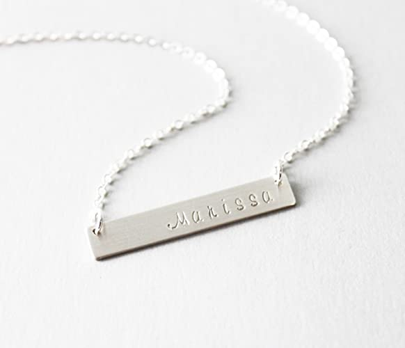 9e2077b7a5d984 Amazon.com: Dainty Silver Bar Necklace, Personalized Bar Necklace, Custom  Name or Initial Necklace: Handmade