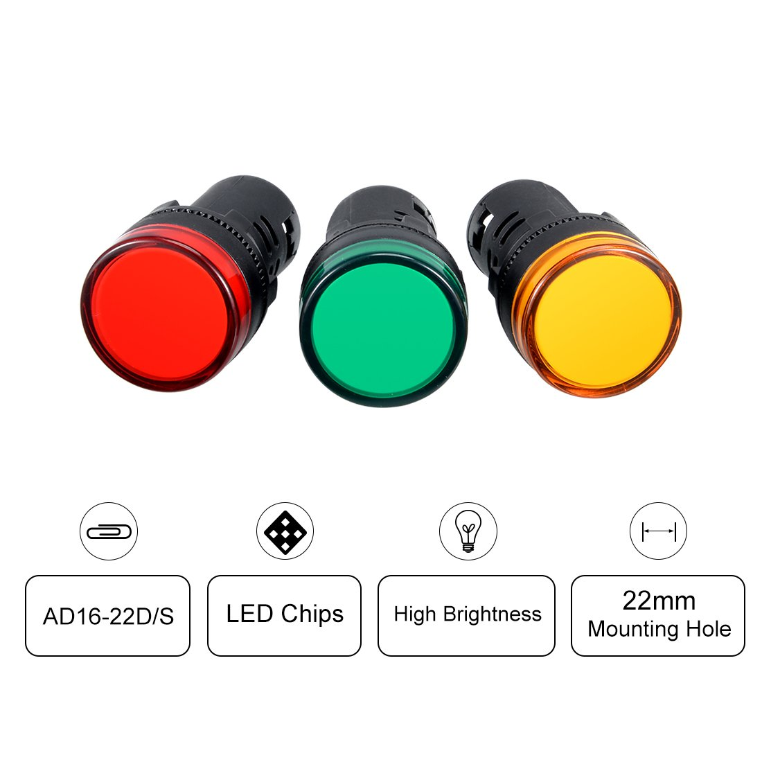 Red+Green LED sourcing map 6Pcs AC//DC 12V Indicator Lights Flush Panel Mount 7//8 22mm