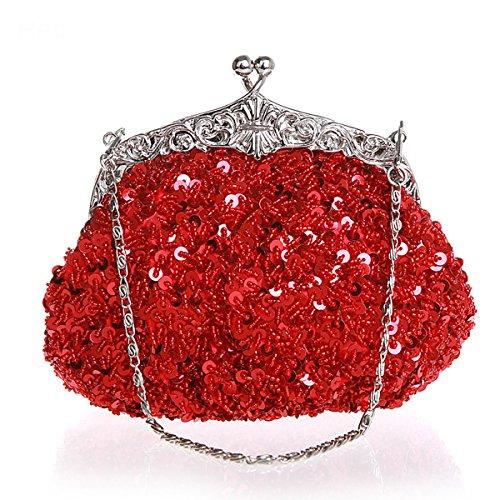 Flada niñas y mujeres rhinestone lentejuelas bolso hecho a mano con cuentas noche embragues fiesta de boda champán Rojo