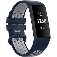 MAKACTUA Armband kompatibelt med Fitbit Charge 4 armband/parti 3 kvinnor män, färgglad silikon ersättning fitness…