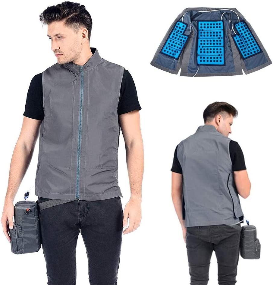 A/Y Personal Outerwear Cooling Vest, Cooling Vest for Men Women, Summer Ice Cooling Vest, Quick Recharge Cooling Vests for Hot Weather (Dark Gray, XXL)