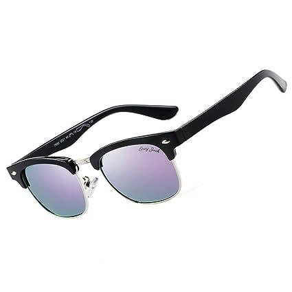 dcbc814469 GREY JACK Polarized Clubmaster Mirrored Sunglasses for Kids Children Girls  Boys Fashion Half Frame Purple Lens