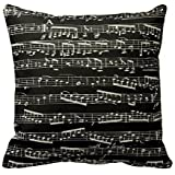 Black And White Music Notes Throw Pillows Custom Throw Pillow Case Personalized Cushion Cover Pillowcase Square Pillow Cover 18x18 Cotton Linen
