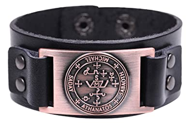 EUEAVAN The Sigil of The Archangel Michael Talisman for Courage and Protection Braided Leather Bracelet