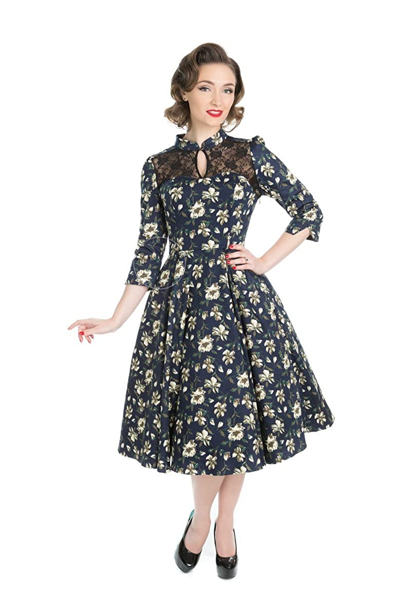 1950s Dresses, 50s Dresses | 1950s Style Dresses Hearts & Roses Jennifer Floral Swing Dress (Shipped from The US and US Sizes) $64.88 AT vintagedancer.com