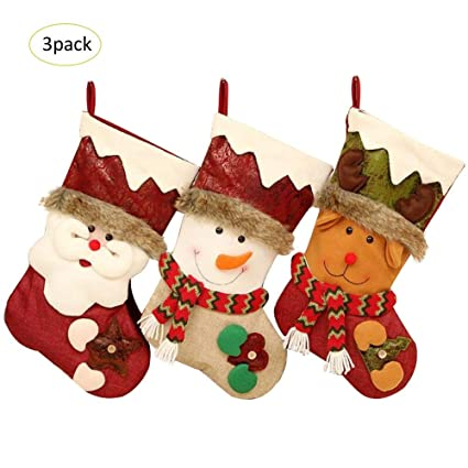 Blueyouth 3 Pack Christmas Stockings - Super Cute Socks Hanging in Xmas Tree Home Restaurant Hotel