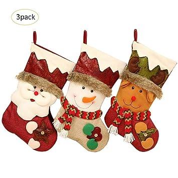Navigatee medias de navidad 3 paquetes - calcetines lindos que cuelgan en el árbol de Navidad