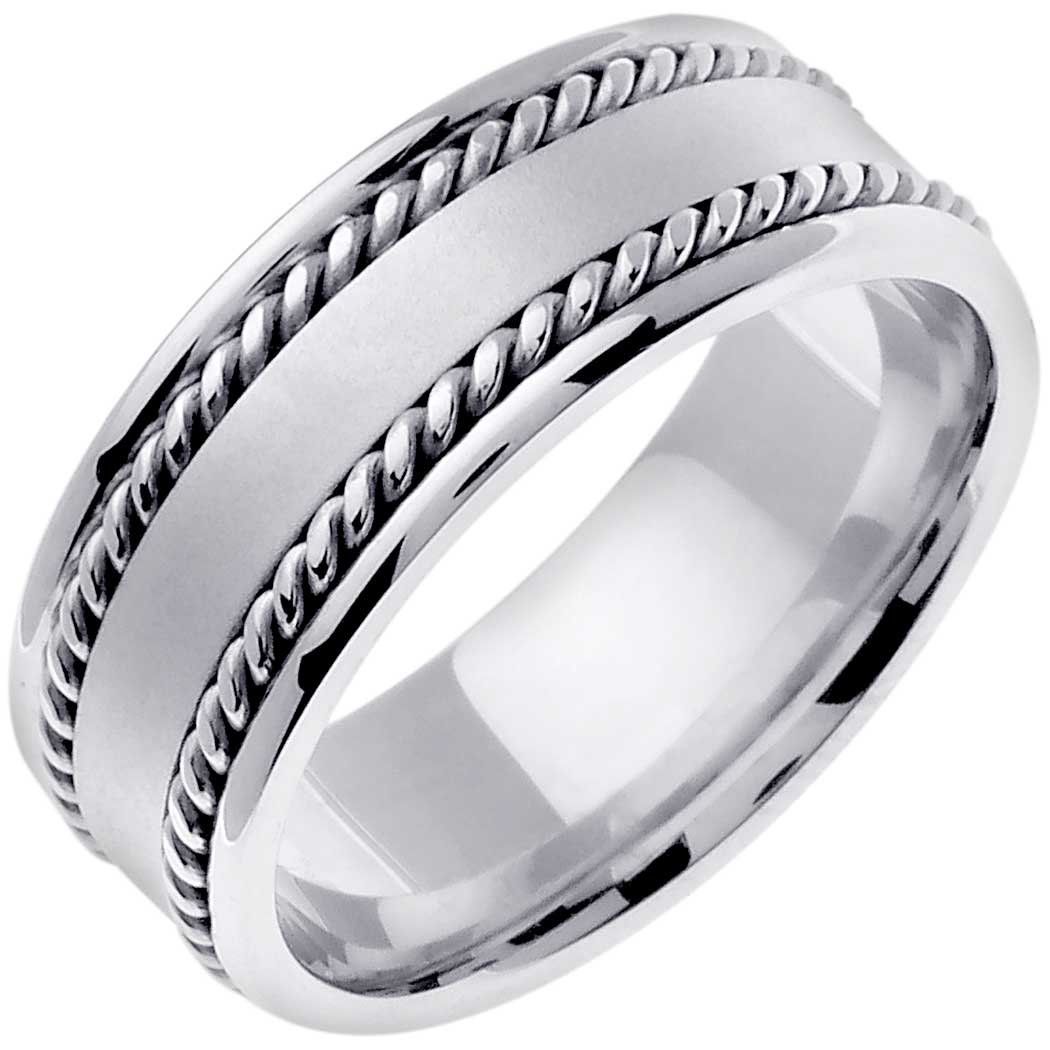 14K White Gold Braided Rope Edge Men's Comfort Fit Wedding Band (8mm) Size-9c1