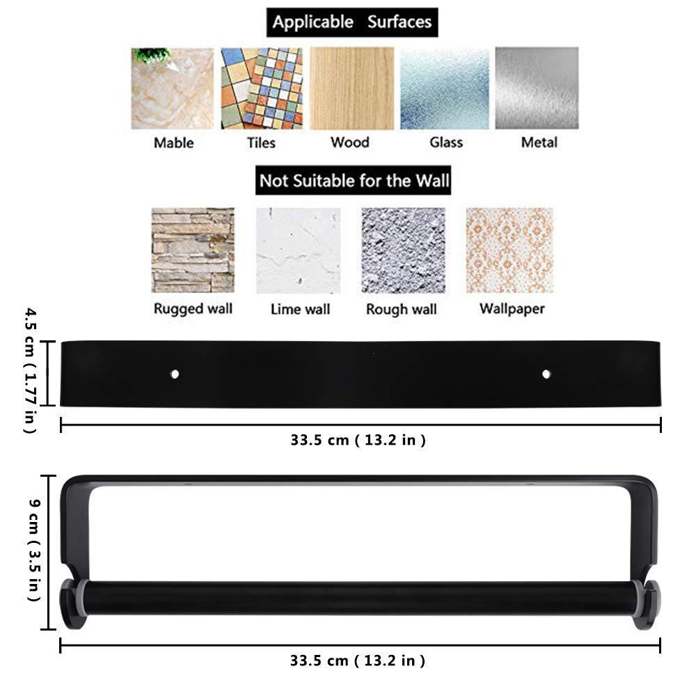 Wandrollenhalter K/üchenpapierhalter Wandmontage Papierrollenhalter Aufbewahrung Organisator Bogeer K/üchenrollenhalter ohne Bohren Aluminium Material