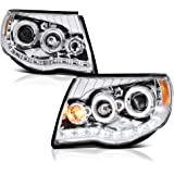 VIPMOTOZ LED Strip DRL Chrome Projector Headlight Lamp Assembly For 2005-2011 Toyota Tacoma Pickup Truck, Driver…