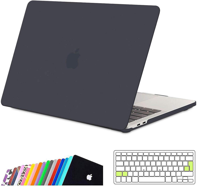 iNeseon Funda MacBook Pro 13 (A2159 A1989 A1706 A1708),Carcasa Delgado Case Duro y Cubierta del Teclado Transparente para 2019/2018/2017/2016 MacBook Pro 13 Pulgadas con/sin Touch Bar, Gris Oscuro