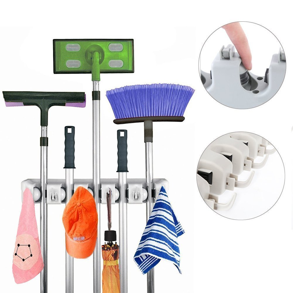 XIANGXING Mop and Broom Holder, 5 position with 6 hooks garage Holds up to 11 Tools For hanging MOPS, BROOMS, TOOLS, SPORT EQUIPMENTS- Multipurpose Wall Mounted Organizer for Garage Shelving Ideas.