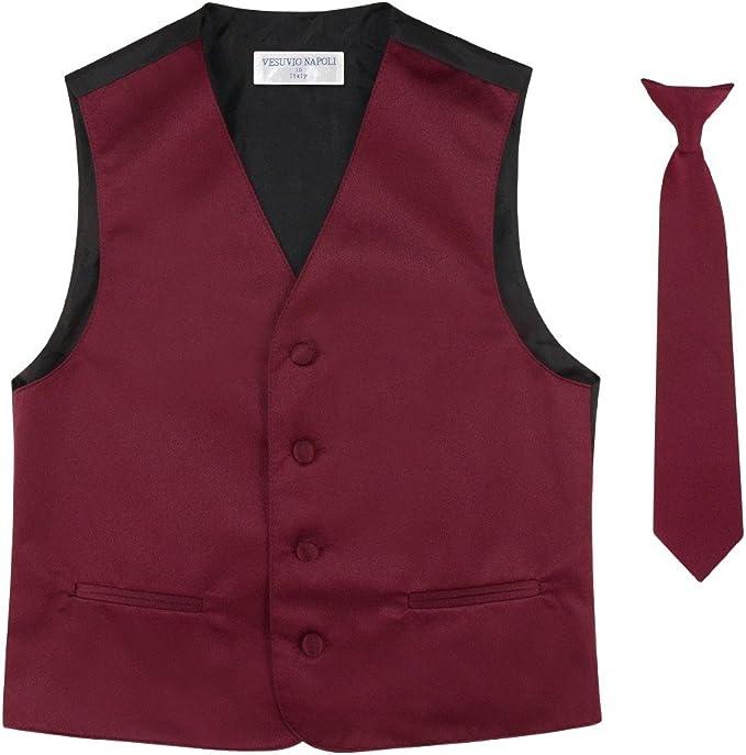BOY/'S Dress Vest /& NeckTie Solid RED Color Neck Tie Set For Suit or Tuxedo