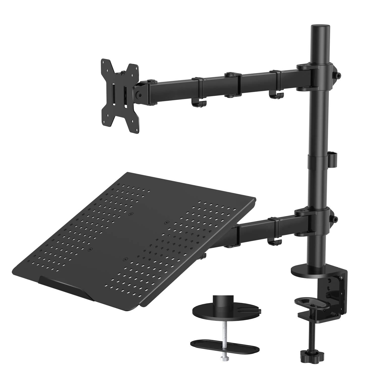 """Monitor Stand with Keyboard Tray - Adjustable Desk Mount Laptop Holder with Clamp and Grommet Mounting Base for 13 to 27 Inch LCD Computer Screens Up to 22lbs, Notebook up to 17"""""""