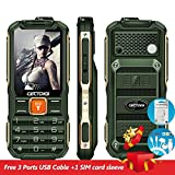 CECTDIGI T9900 Rugged Unlocked GSM Cell Phone Military Phone For Outdoor Sports Dual Sim with Quad Band, Double Flash Lights and 15800 mAh Battery Power Bank Charge 3 Phones (Green)