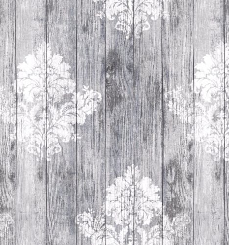 HOME-EXPRESSIONS 137cms x 300cms silver grey wooden damask white plain grey ground pvc plastic table cloth protector oil vinyl cloth 3 metres long doreen preston