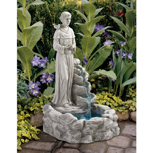 Water Fountain - Nature's Blessed Prayer St Francis Statue Garden Decor Fountain - Outdoor Water Feature