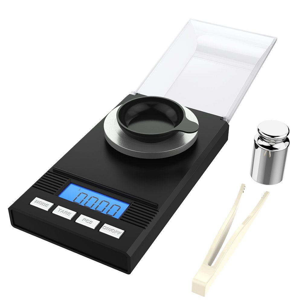Homgeek Digital Milligram Pocket Scale Mini Jewelry Gold Powder Weigh Scales with Calibration Weights Tweezers, Weighing Pans, LCD Display