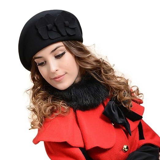Voberry®Women s Korean French Beret Beanie Warm Pillbox Hat Cap (Black) 4f10451faf5a