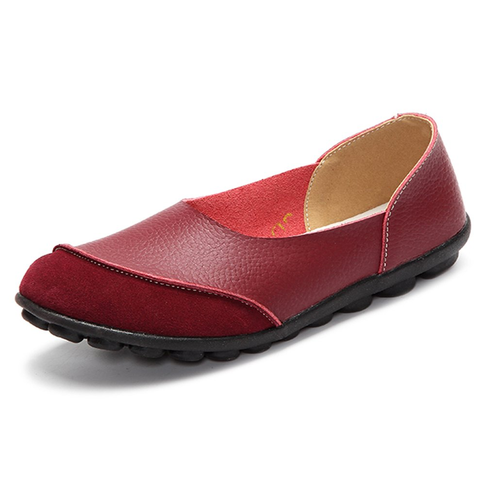 LINGTOM Women's Loafers Casual Genuine Leather Moccasin Shoes Flat for Driving,Burgundy 6 (37)
