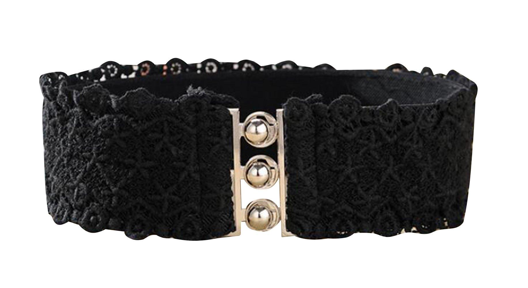 TRENDY XU Lace Wide Decorative Waist Belts Elastic Interlocking Buckles Waistband (Black) by Dress Waistbands Belt (Image #1)