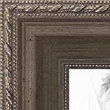 ArtToFrames 21x35 inch Muted Silver with Metallic Detailing Wood Picture Frame, 2WOMD5027-21x35