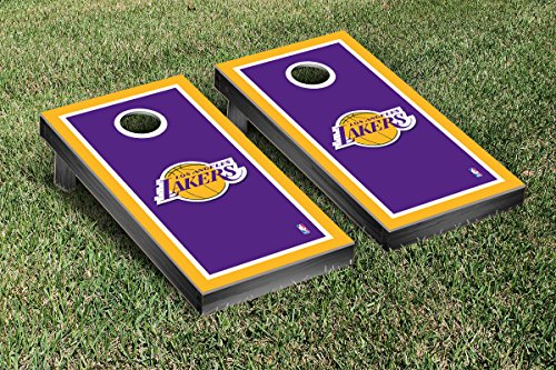 Los Angeles LA Lakers NBA Basketball Cornhole Game Set Border Version by Victory Tailgate