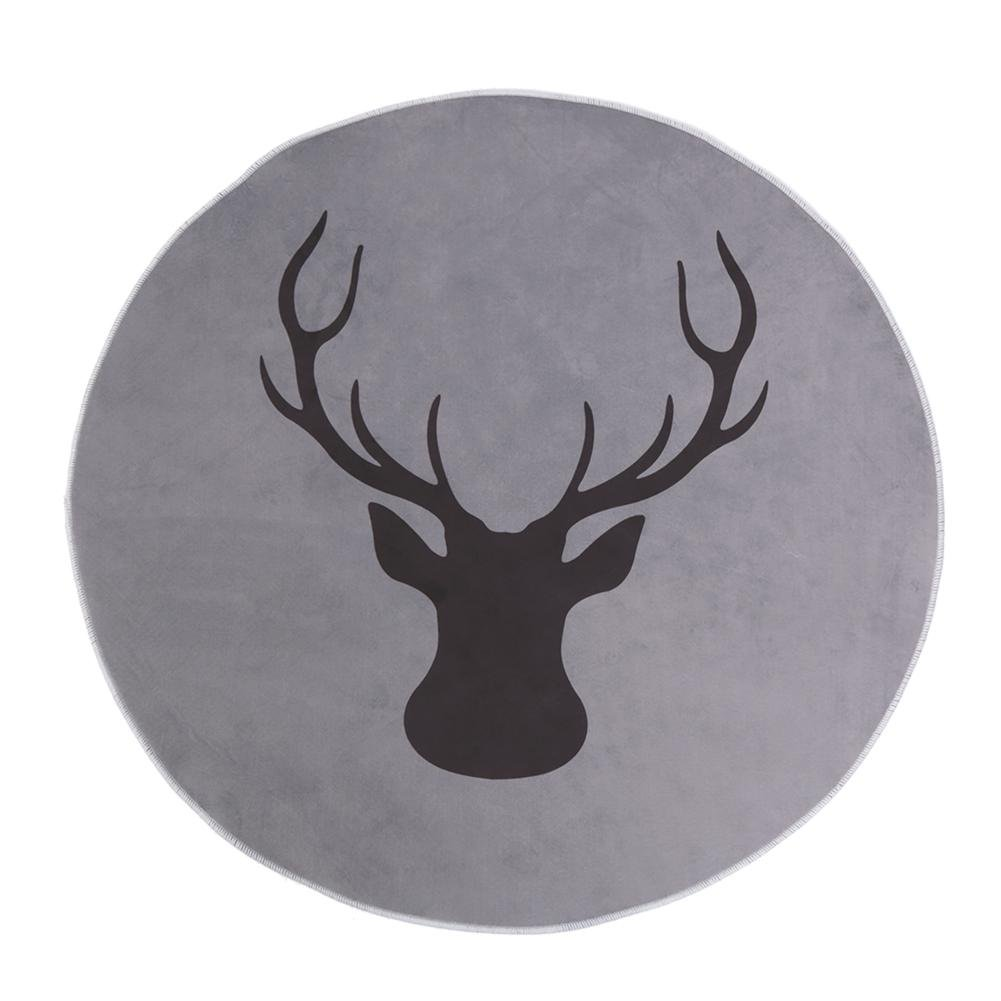 Deer Print Round Anti-slip Rug Floor Mat Carpet For Bedroom And Living Room MKChung