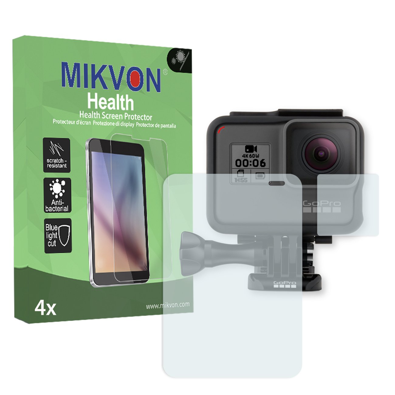 4x Mikvon Health Screen Protector for GoPro Hero 6 Antibacterial BlueLightCut Foil - Retail Package with accessories