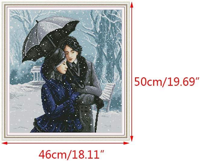 PHILSP Lovers in The Snow Cucito a Mano Fai-da-Te contato 14CT Kit per Ricamo a Punto Croce Stampato Set Decorazione per la casa