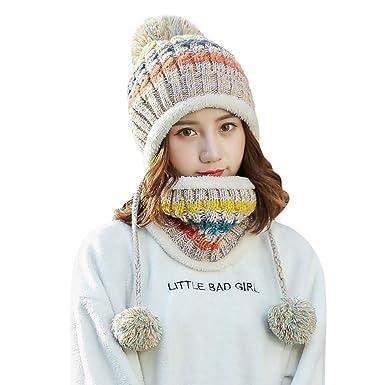 ALIKEEY Forro Polar Mujer Tejer Beanie Bufanda Set Chica Invierno Sombrero De Esquí con Earflap Gorro De Nieve Hombre NiñO Blanco Nieves Lluvia Mujer NiñA: ...