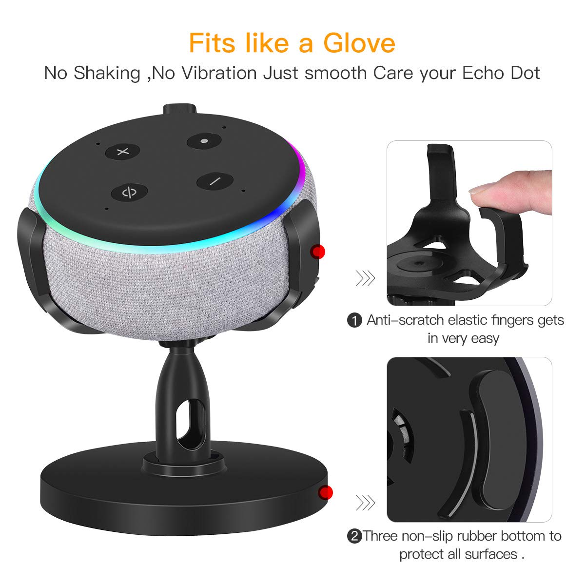 iKammo Table Stand Holder for Dot 3rd Gen - 360°Rotatable Rubber Pedestal Stand Bracket Mount, Dot 3rd Gen Accessories for Smart Home, Enhanced Sound Surround(Black)