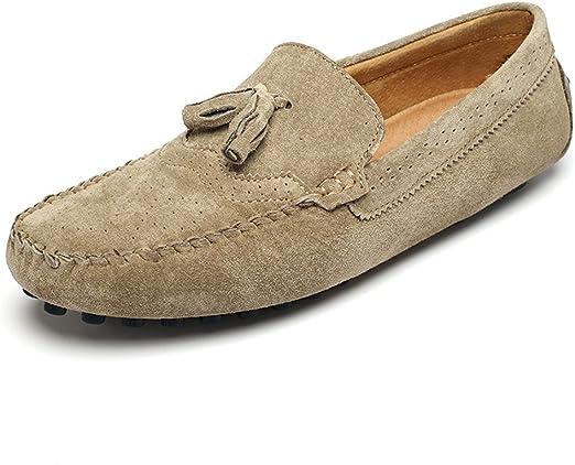 Jiuyue-shoes Mocasines de Costura Manual para Hombre Mocasín con ...