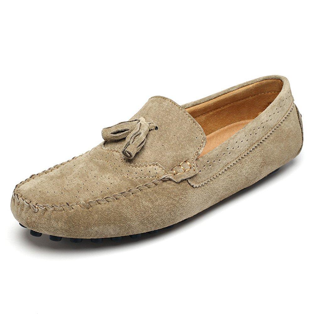 Jiuyue-shoes Mocasines de Costura Manual para Hombre Mocas/ín con borlas Decoraci/ón Mocasines con Cordones de Cuero Genuino Color : Caqui, tama/ño : 41 EU