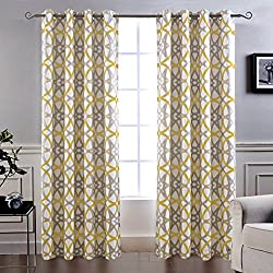 "DriftAway Alexander Thermal Blackout Grommet Unlined Window Curtains, Spiral Geo Trellis Pattern, Set of Two Panels, Each Size 52""x84"" (Yellow/Gray)"