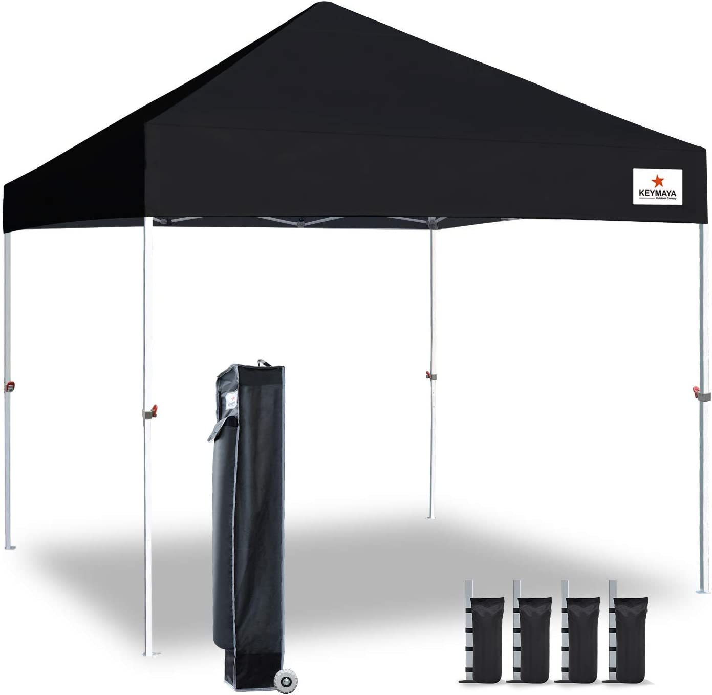 Amazon Com Keymaya 10x10 Ez Pop Up Canopy Tent Commercial Instant Shelter Canopies With Heavy Duty Roller Bag Bonus 4 Canopy Sand Bags Black Garden Outdoor