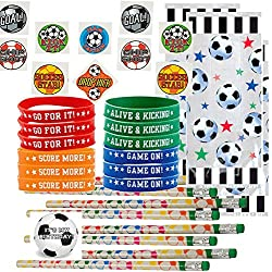 Soccer Party Favors for 24 - Soccer Wrist Bands (24), Soccer Pencils (24), Soccer Tattoos (72), Soccer Theme Favor Gift Bags (24) and Happy Birthday Sticker (Total 145 Pieces)
