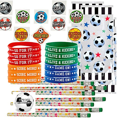 (Soccer Party Favors for 24 - Soccer Pencils (24), Soccer Wrist Bands (24), Soccer Tattoos (72), Soccer Theme Gift Bags (24) and Happy Birthday Sticker (Total 145 Pieces) (Clear)