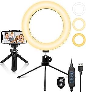 "SEBIDER Selfie Ring Light 8"", DesktopTripod Stand and Phone Holder 13 Brightness Levels for Live Streaming YouTube Video Vanity Makeup Photography Shooting"