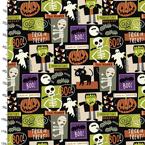 Costume Party Halloween Blocks Cotton Fabric Quilter's