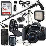 Canon EOS Rebel T6i DSLR Camera Deluxe Video Kit with Canon EF-S 18-55mm STM, EF 75-300MM Lenses + Shotgun Microphone Fishing Boom Pole + SanDisk 64GB SD Memory Card + Accessory Bundle