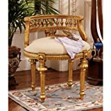 Antique Replica Hand-Carved Solid Hardwood Gold Leaf French Chair