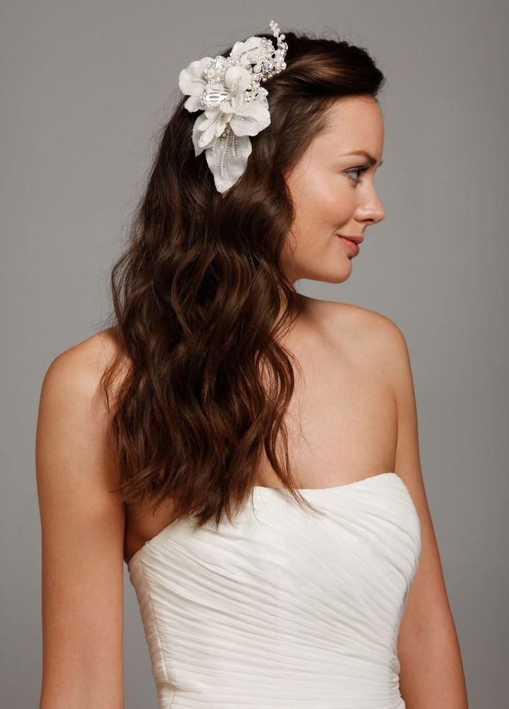 Floral Headpiece with Pearls and Crystals Style C9048, Silver