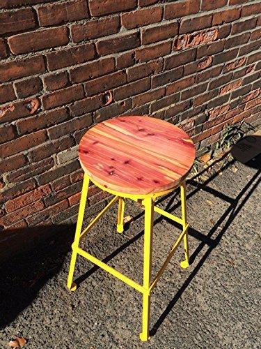 Colorful Steel and Cedar Barstool