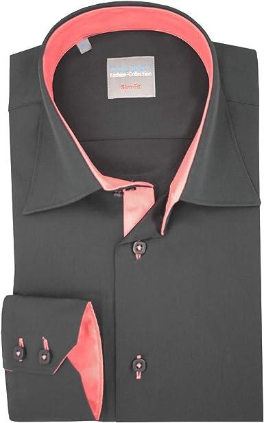Cupo la Camisa Hombre Negro Toldos Collar 2 Botones con oposición de Coral Rojo: Amazon.es: Ropa y accesorios